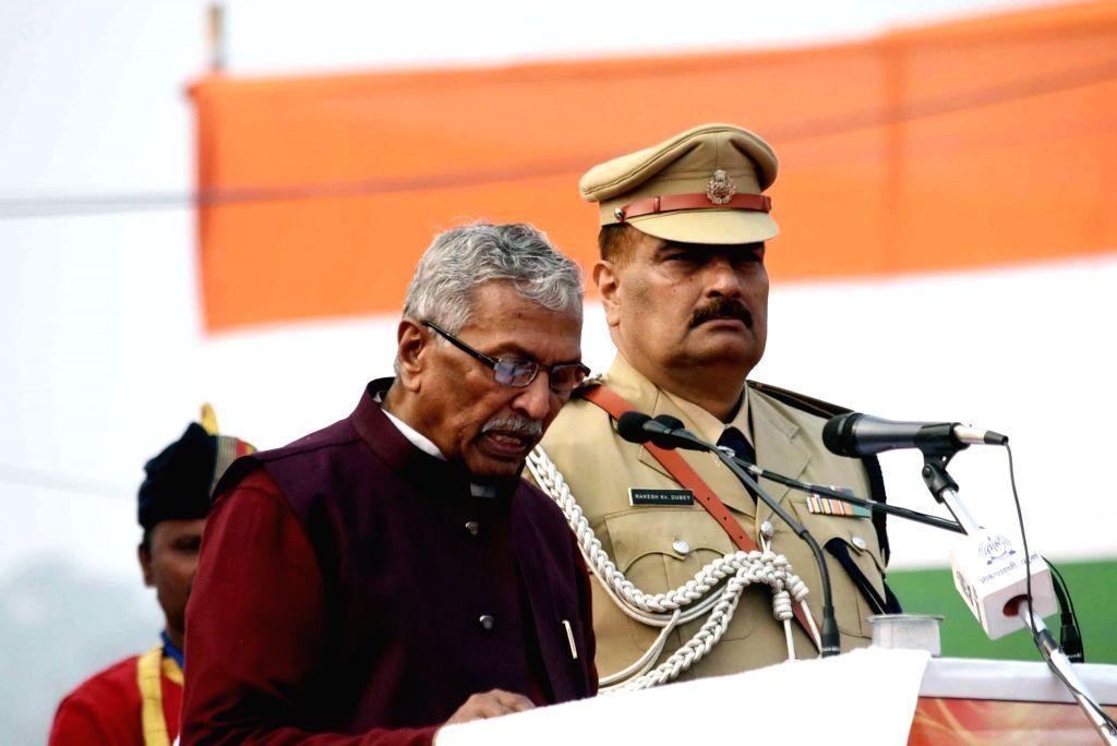 Bihar Governor Phagu Chauhan addresses during the 71st Republic Day celebrations at Gandhi Maidan, in Patna on Jan 26, 2020. - Phagu Chauhan