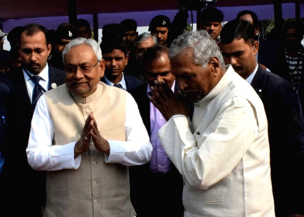Bihar Governor Phagu Chauhan and Chief Minister Nitish Kumar during a programme organised on the 135th birth anniversary of India's first President Rajendra Prasad, in Patna on Dec 3, 2019. - Nitish Kumar and Phagu Chauhan