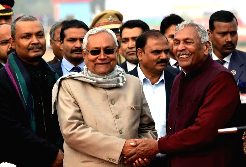 Bihar Governor Phagu Chauhan and Chief Minister Nitish Kumar during the 71st Republic Day celebrations at Gandhi Maidan, in Patna on Jan 26, 2020. - Nitish Kumar and Phagu Chauhan