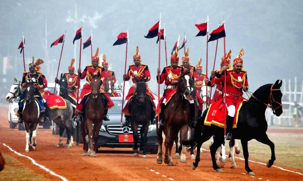 Bihar Governor Phagu Chauhan arrives for the 71st Republic Day celebrations at Gandhi Maidan, in Patna on Jan 26, 2020. - Phagu Chauhan