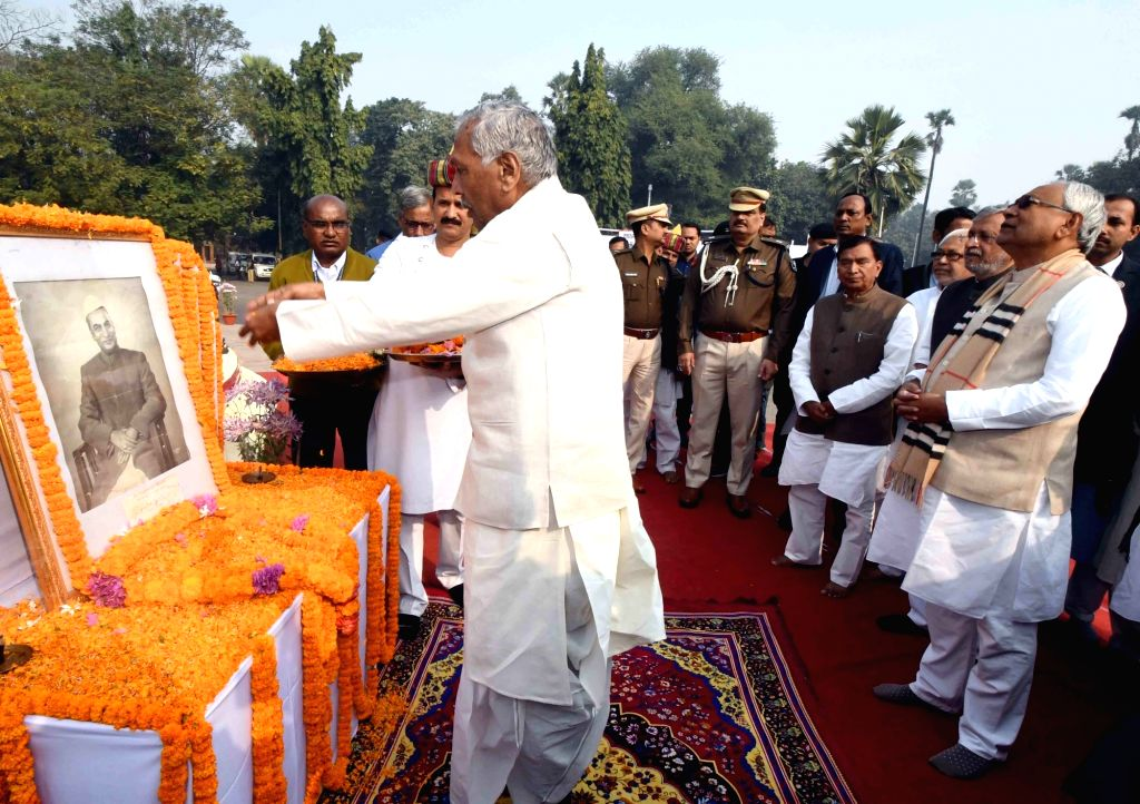 Bihar Governor Phagu Chauhan pays tributes to India's first President Rajendra Prasad on his 135th birth anniversary, in Patna on Dec 3, 2019. - Phagu Chauhan