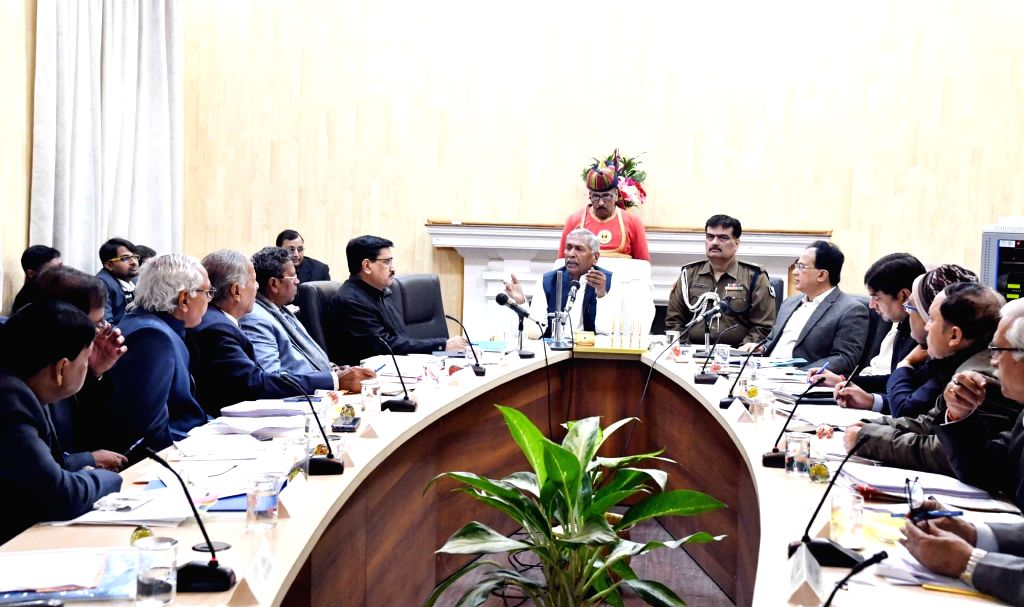 Bihar Governor Phagu Chauhan presides over a meeting with the Vice Chancellors of various state universities, in Patna on Jan 9, 2020. - Phagu Chauhan