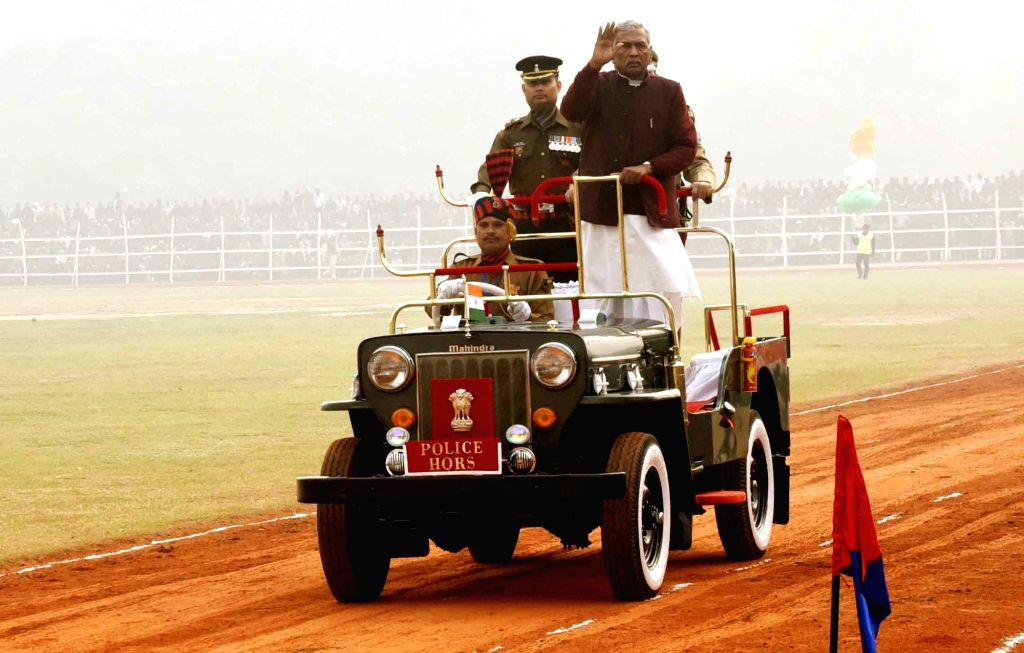 Bihar Governor Phagu Chauhan reviews the 71st Republic Day parade at Gandhi Maidan, in Patna on Jan 26, 2020. - Phagu Chauhan