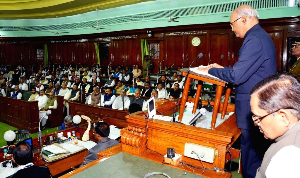 Bihar Governor Ram Nath Kovind addresses at the state assembly in Patna on Dec 4, 2015.