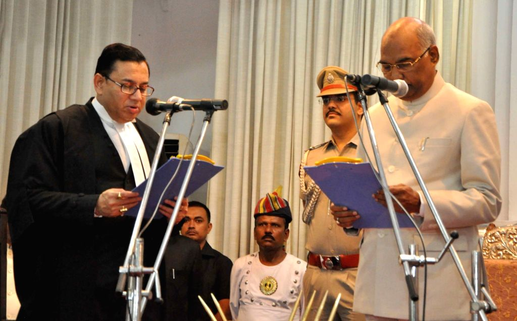 Bihar Governor Ram Nath Kovind administers oath of Chief Justice of Patna High Court to Justice  Iqbal Ahmed Ansari at Raj Bhawan in Patna on July 29, 2016. - Nath Kovind
