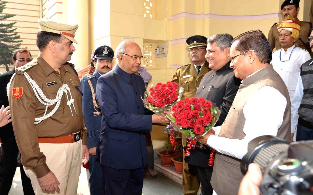 Bihar Governor Ram Nath Kovind arrives at state assembly in Patna on Dec 4, 2015.