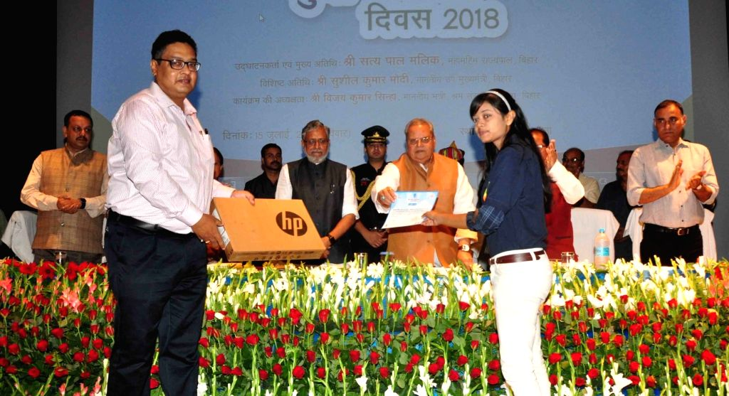 Bihar Governor Satya Pal Malik and Deputy Chief Minister Sushil Kumar Modi during a programme organised on World Youth Skills Day, in Patna on July 15, 2018. - Sushil Kumar Modi and Malik