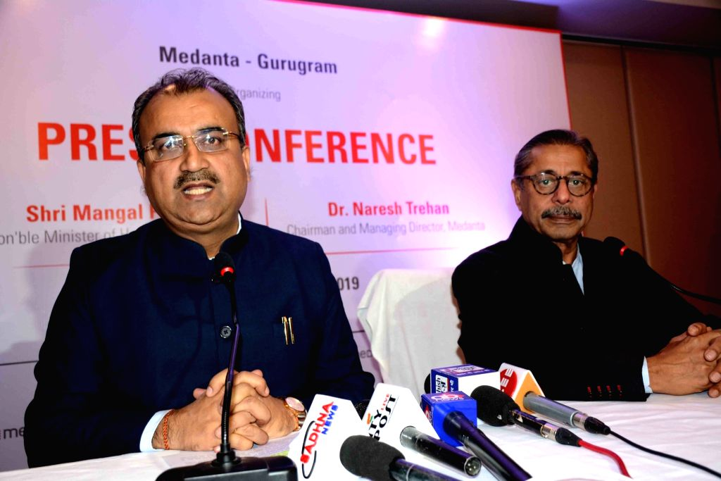 Bihar Health Minister Mangal Pandey accompanied by Medanta Medicity Chairman Naresh Trehan, addresses at a press conference in Patna on Dec 13, 2019. - Mangal Pandey