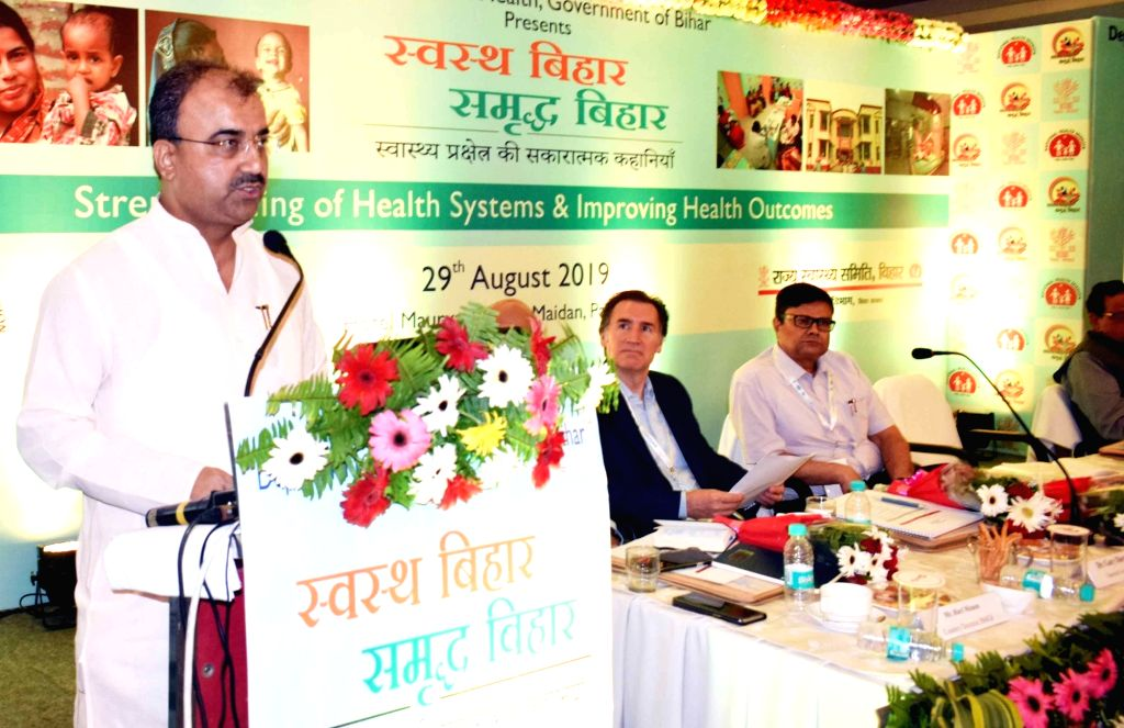 "Bihar Health Minister Mangal Pandey addresses during a workshop on ""Strengthening of Health Systems and Improving Health Outcomes"", in Patna on Aug 29, 2019. - Mangal Pandey"