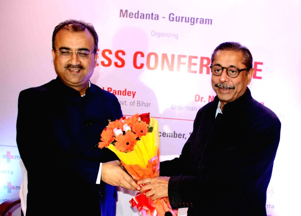 Bihar Health Minister Mangal Pandey being welcomed by Medanta Medicity Chairman Naresh Trehan at a press conference in Patna on Dec 13, 2019. - Mangal Pandey