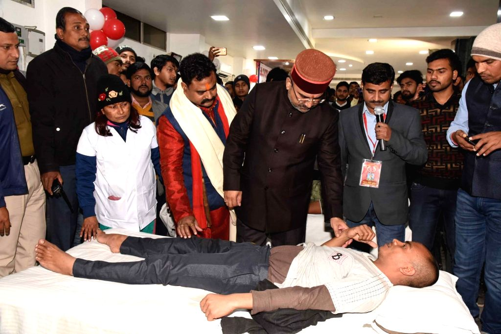 Bihar Health Minister Mangal Pandey meets donors at a blood donation camp organised in Patna on Jan 10, 2020. - Mangal Pandey
