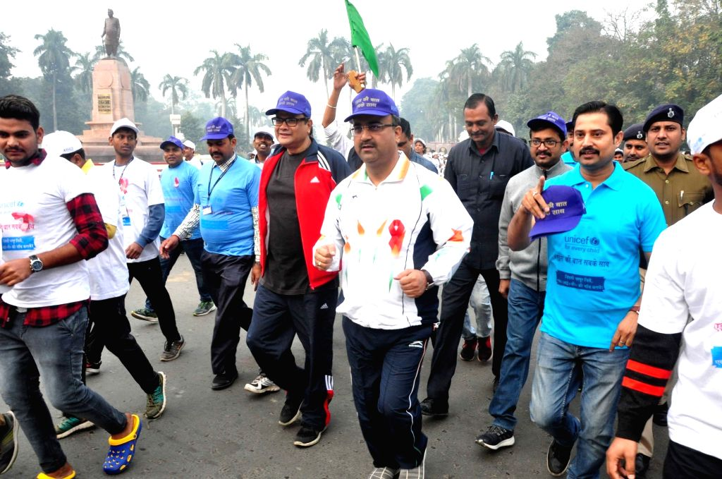 Bihar Health Minister Mangal Pandey participate in a run organised on the occasion of World AIDS Day in Patna on Dec 1, 2018. - Mangal Pandey