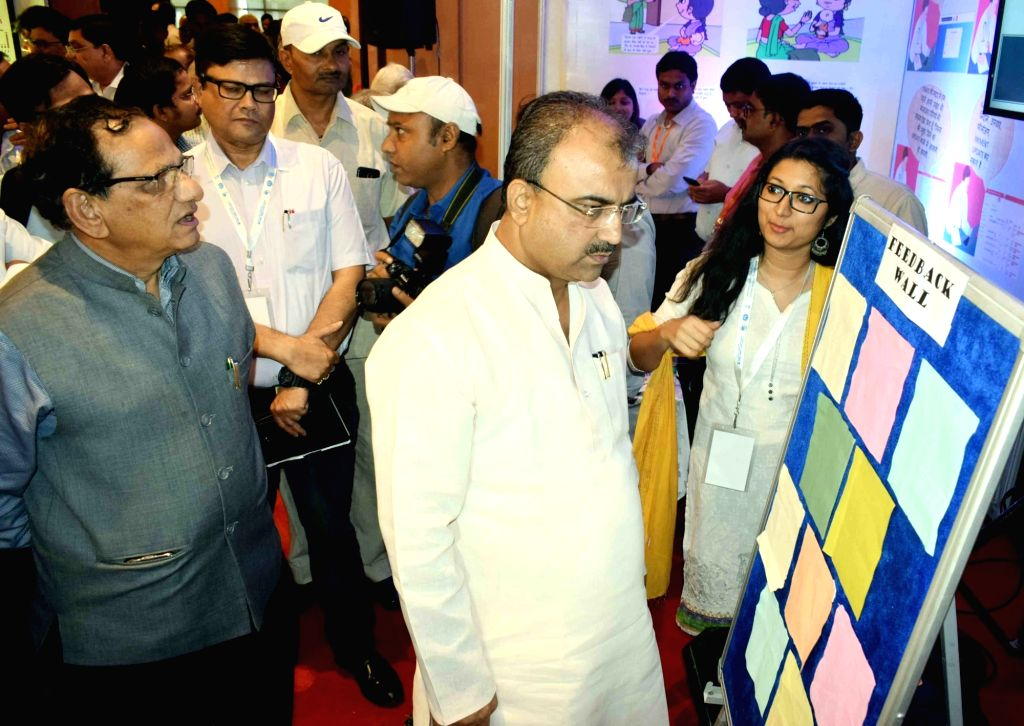 "Bihar Health Minister Mangal Pandey visits an exhibition during a workshop on ""Strengthening of Health Systems and Improving HealthOutcomes"", in Patna on Aug 29, 2019. - Mangal Pandey"