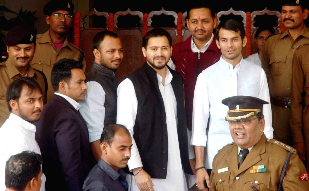 Bihar Health Minister Tej Pratap Yadav and Deputy Chief Minister Tejashwi Yadav at state assembly  in Patna, on Dec 2, 2015.