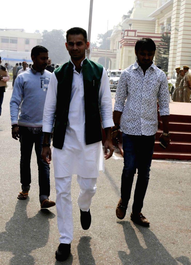 Bihar Health Minister Tej Pratap Yadav arrives on the first day of Bihar Assembly's winter session in Patna on Nov 25, 2016. - Tej Pratap Yadav