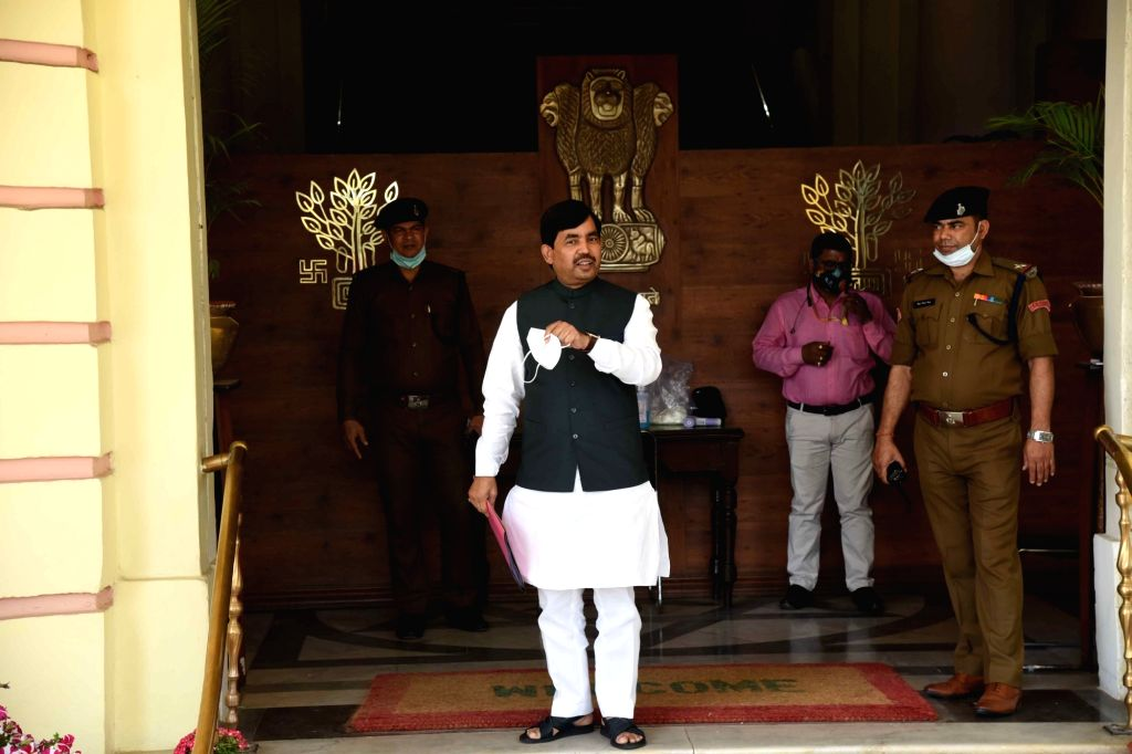 Bihar industry Minister Syed Shahnawaz Hussain arrives at Bihar Assembly during the ongoing Budget session, in Patna on Friday March 5, 2021  . - Syed Shahnawaz Hussain