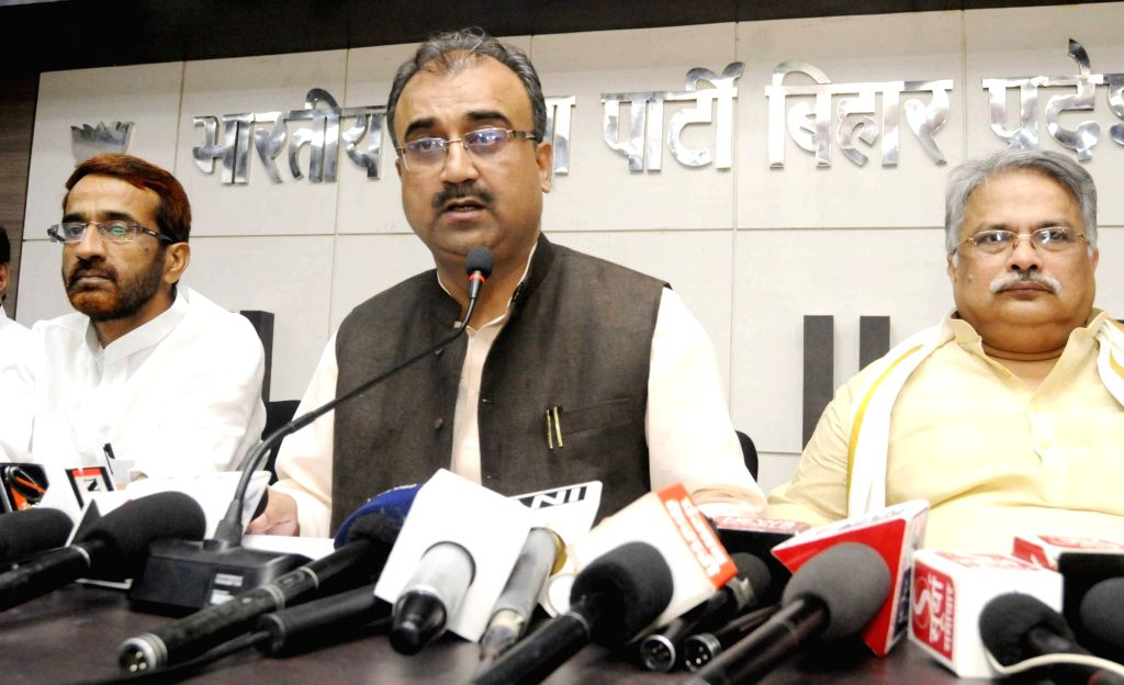 Bihar Minister and BJP leader Mangal Pandey addresses a press conference at the party office, in Patna on May 31, 2018. - Mangal Pandey