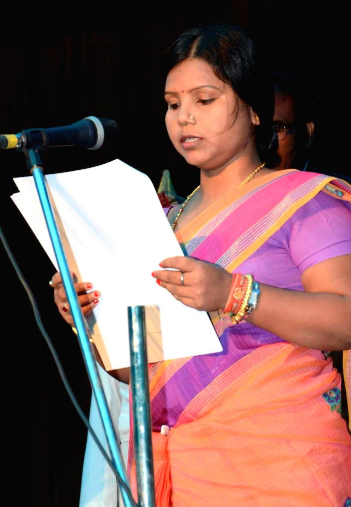 :Bihar minister Bima Bharti takes oath of office at Raj Bhavan in Patna on June 2, 2014. (Photo: IANS).