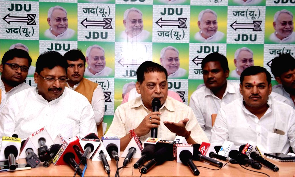 Bihar Minister Neeraj Kumar addresses a press conference at the JD-U headquarters, in Patna on Oct 10, 2019. - Neeraj Kumar