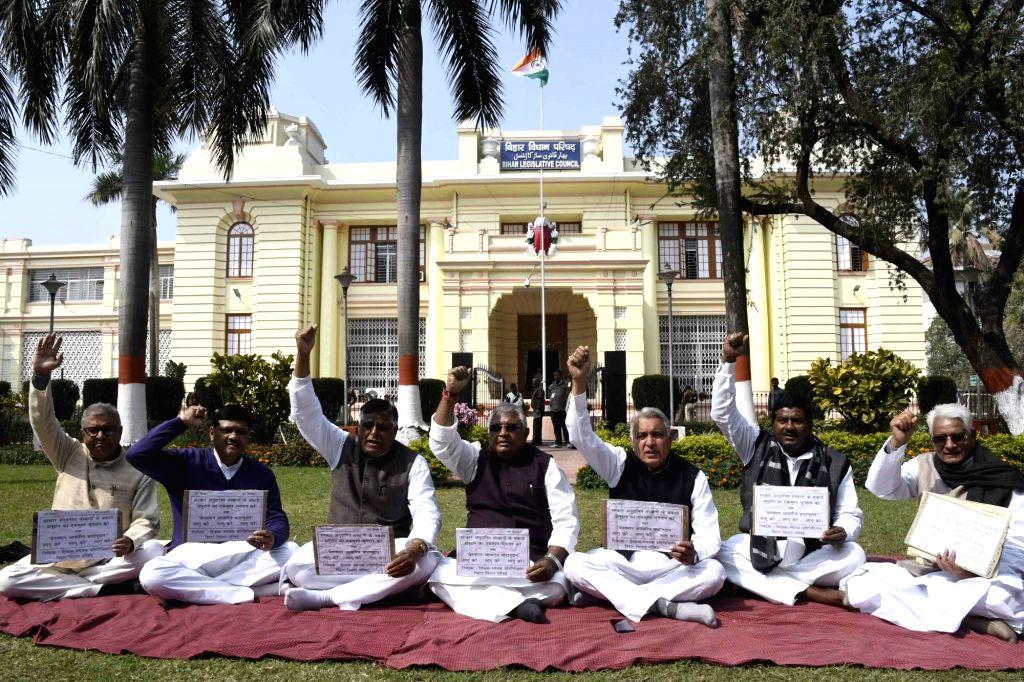 Bihar MLCs stage a demonstration at Bihar Legislative Assembly, in Patna, on Feb 18, 2019.