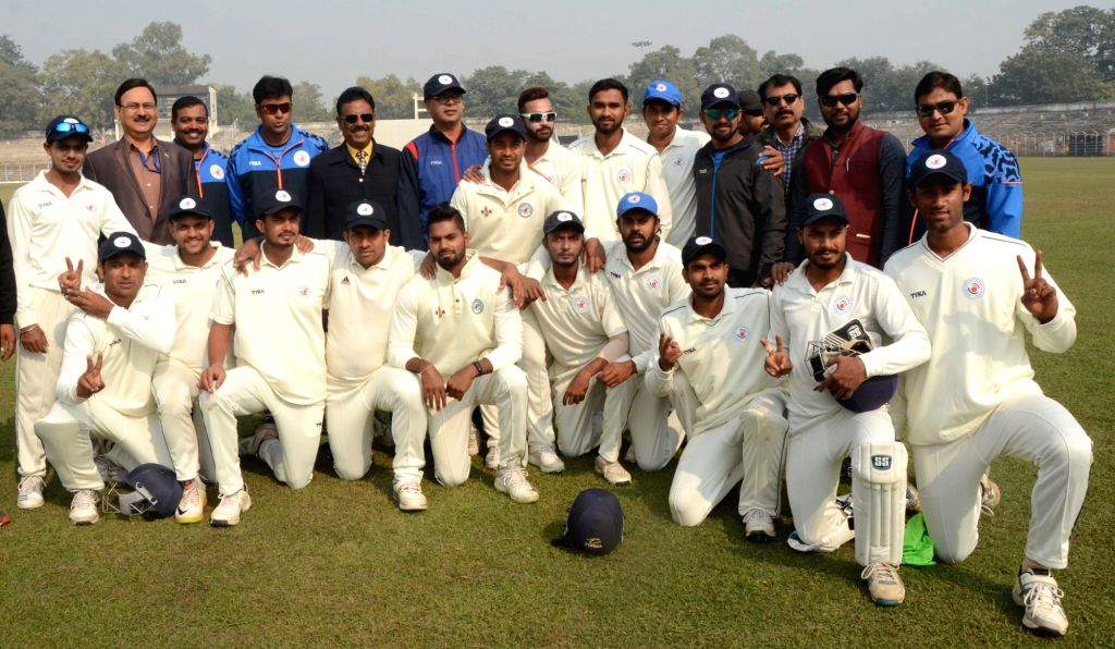 Bihar players pose for a group photo after defeating Arunachal Pradesh during a Ranji Trophy match at Moinul Haque Stadium, in Patna on Dec 8, 2018.