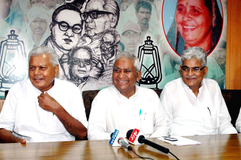 Bihar RJD chief Ramchandra Purve addresses a press conference in Patna on Aug 25, 2014.