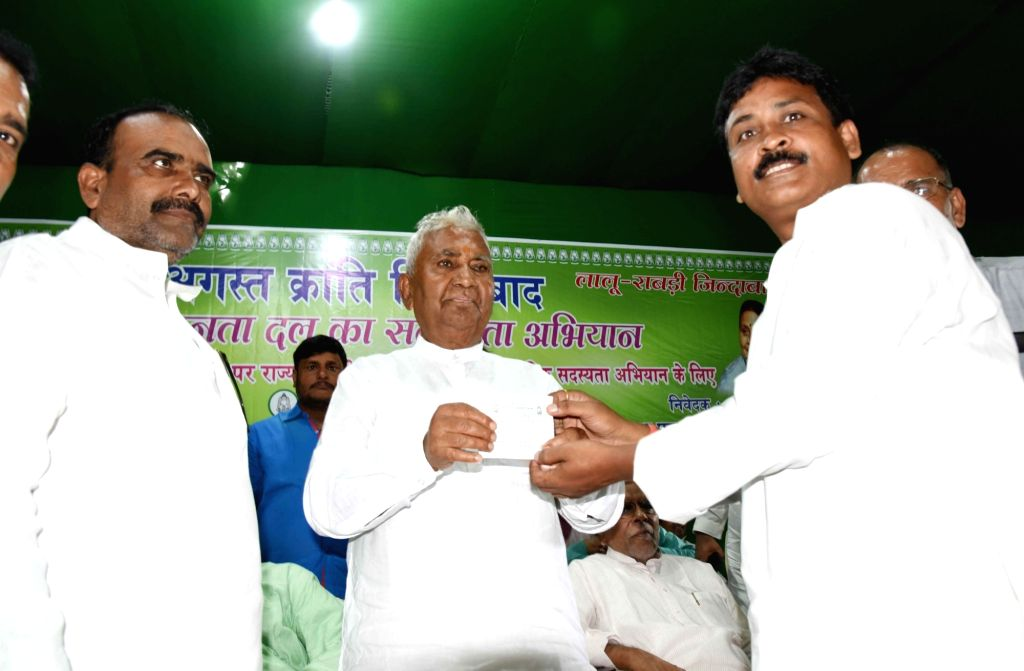 Bihar RJD President Ram Chandra Purbey during the party's membership drive in Patna on Aug 9, 2019.