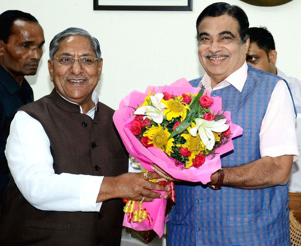 Bihar Road Minister Nand Kishore Yadav meets Union Road Transport and Highways and Micro, Small and Medium Enterprises Minister Nitin Gadkari, in New Delhi on June 13, 2019. - Nand Kishore Yadav