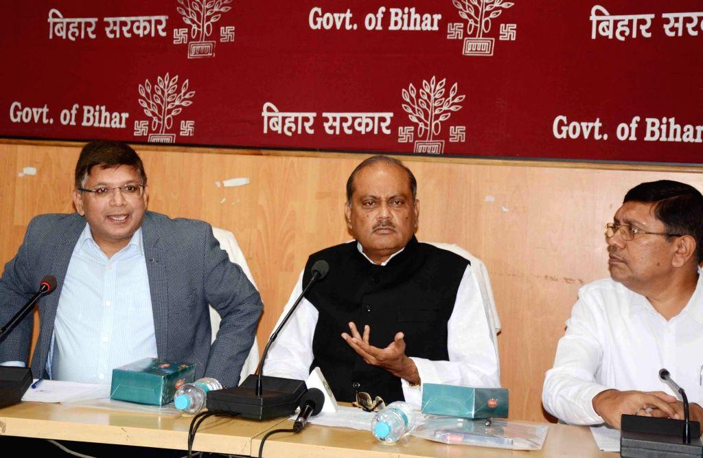 Bihar Rural Works Department (RWD) Minister Shailesh Kumar addresses a press conference in Patna on Nov 15, 2019. - Shailesh Kumar