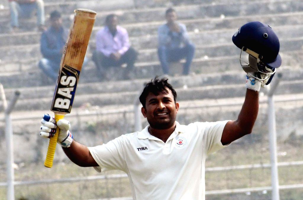 Bihar's Indrajit Kumar celebrates his two hundred runs on day 2 of the Ranji Trophy match between Bihar and Arunachal Pradesh at Moinul Haque Stadium, in Patna on Dec 7, 2018. - Indrajit Kumar