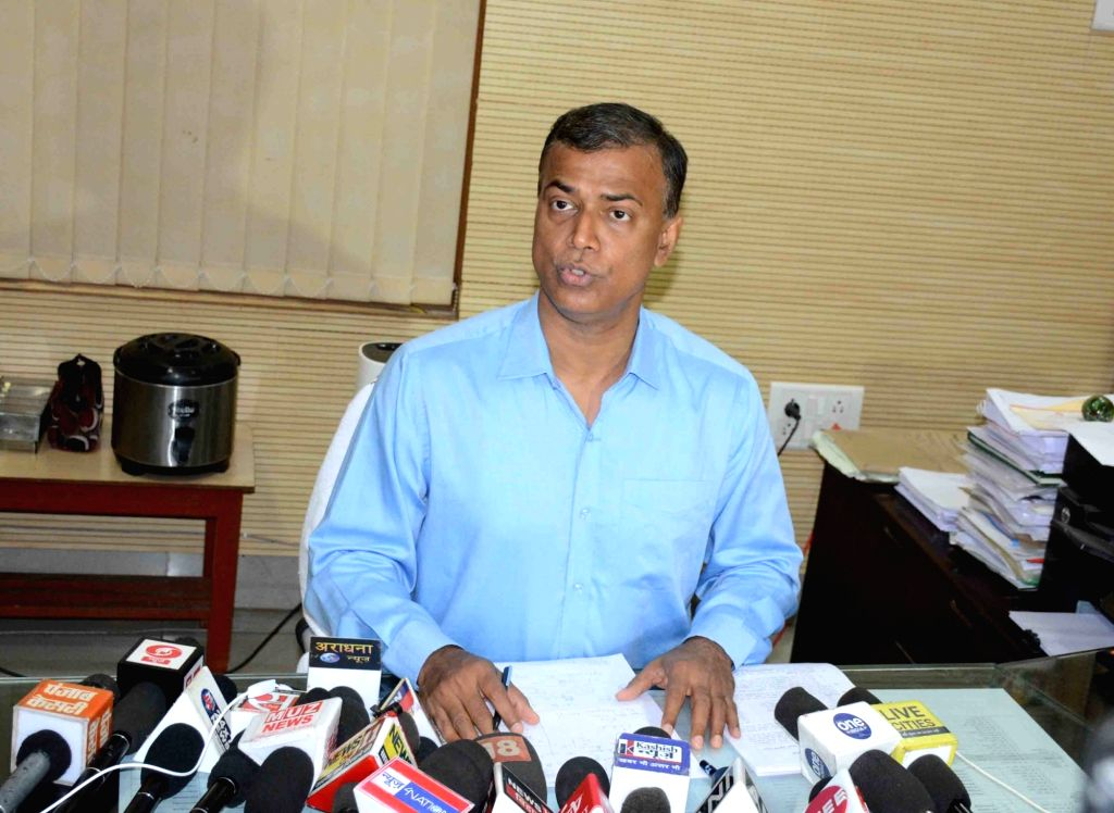 Bihar School Examination Board (BSEB) Chairman Anand Kishor addresses a press conference in Patna on Sep 7, 2019.