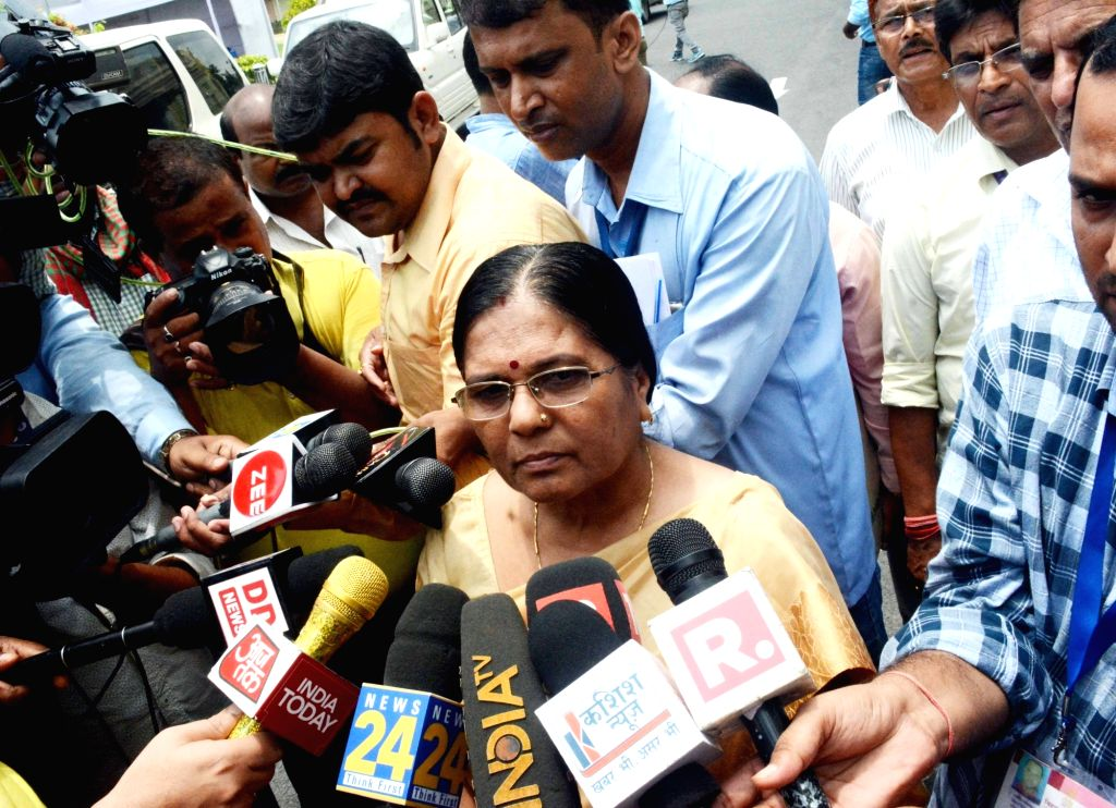 Bihar Social Welfare Minister Kumari Manju Verma talks to the media in connection with the alleged rape of over 40 minor girls in a shelter home in Muzaffarpur district; at the state ... - Kumari Manju Verma