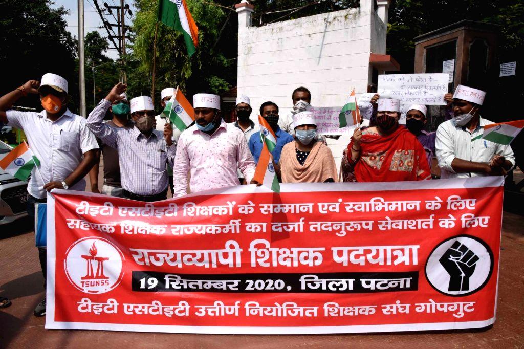 Bihar STET (Bihar State Teacher Eligibility Test) and TET (Teachers Eligibility Test) teachers stage a demonstration to press for their various demands, in Patna on Sep 19, 2020.