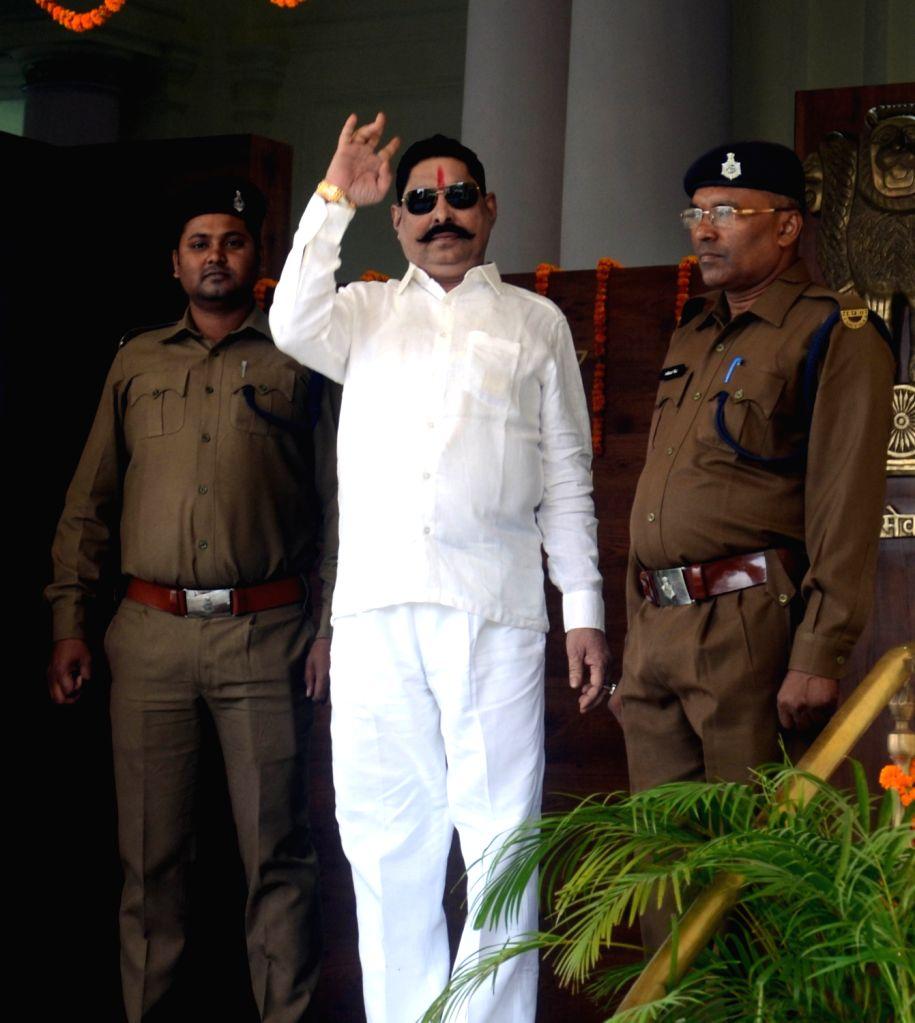 Bihar: Strongman Anant Singh files nomination from Mokama. (Photo: IANS) - Anant Singh