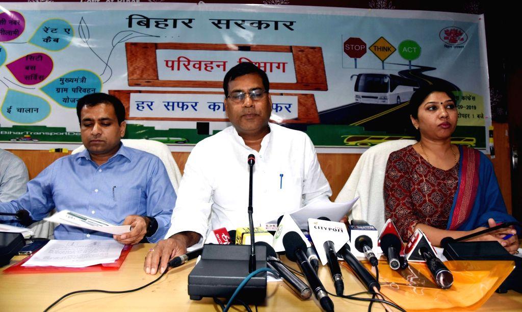 Bihar Transport Minister Santosh Kumar Nirala addresses a press conference, in Patna on Sep 4, 2019. - Santosh Kumar Nirala