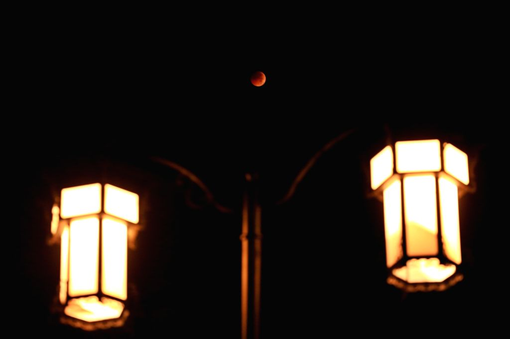 BIJIE, July 28, 2018 - The moon is seen during a lunar eclipse in Bijie City, southwest China's Guizhou Province, July 28, 2018. It is believed to be the longest lunar eclipse of the century.