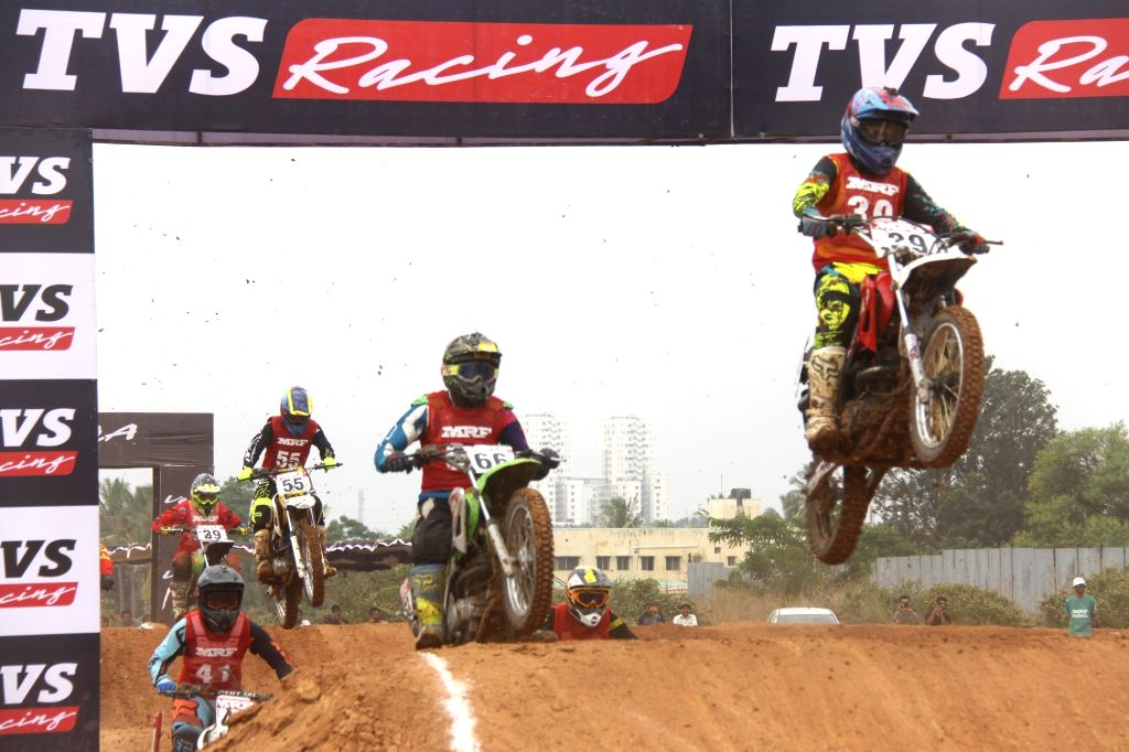 Bike racers in action during MRF MOGRIP FMSCI National Supercross Championship 2019, in Bengaluru, on June 2, 2019.
