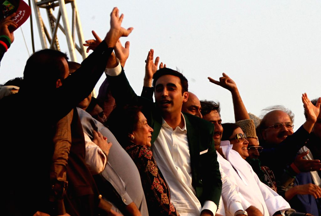 Bilawal Bhutto Zardari (C). (Xinhua/Arshad/IANS)