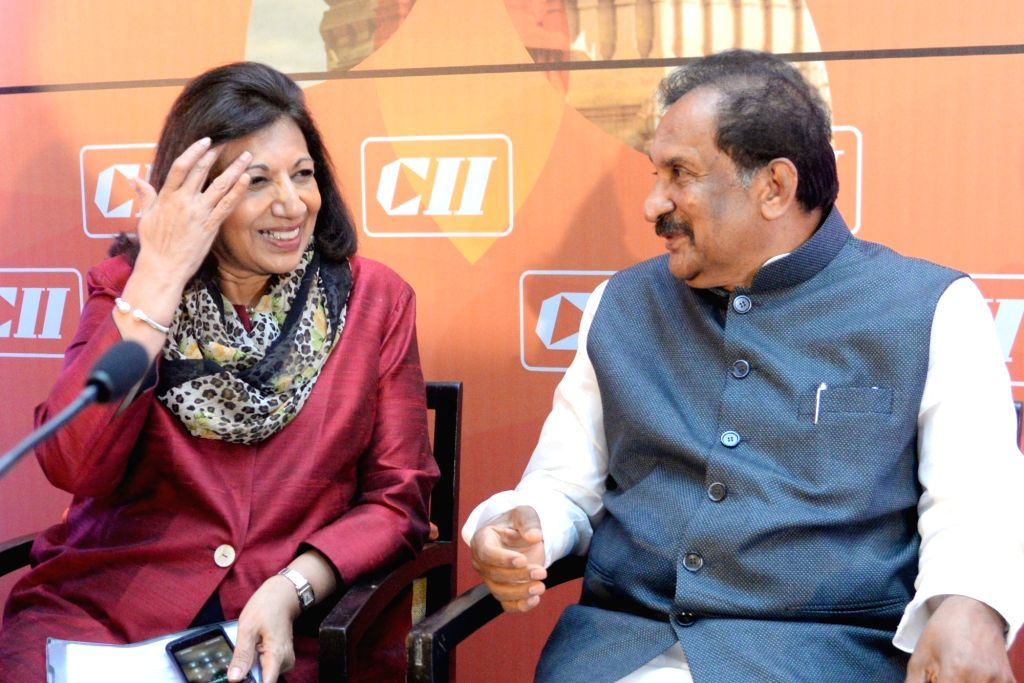 "Biocon Ltd Chairperson and Managing Director Kiran Mazumdar-Shaw and Karnataka Large and Medium Scale Industry Minister KJ George at the Karnataka CII Annual Day conference on ""Business ... - K"