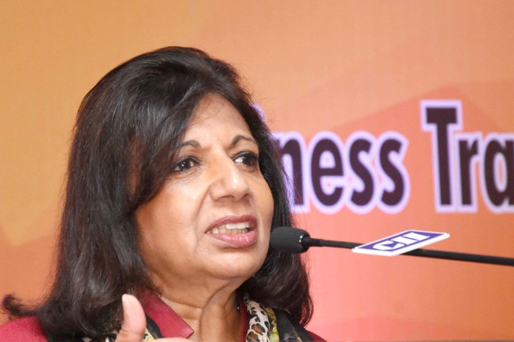 "Biocon Ltd Chairperson and Managing Director Kiran Mazumdar-Shaw addresses at the Karnataka CII Annual Day conference on ""Business Transformation & Agility in Volatile Times"" in ..."