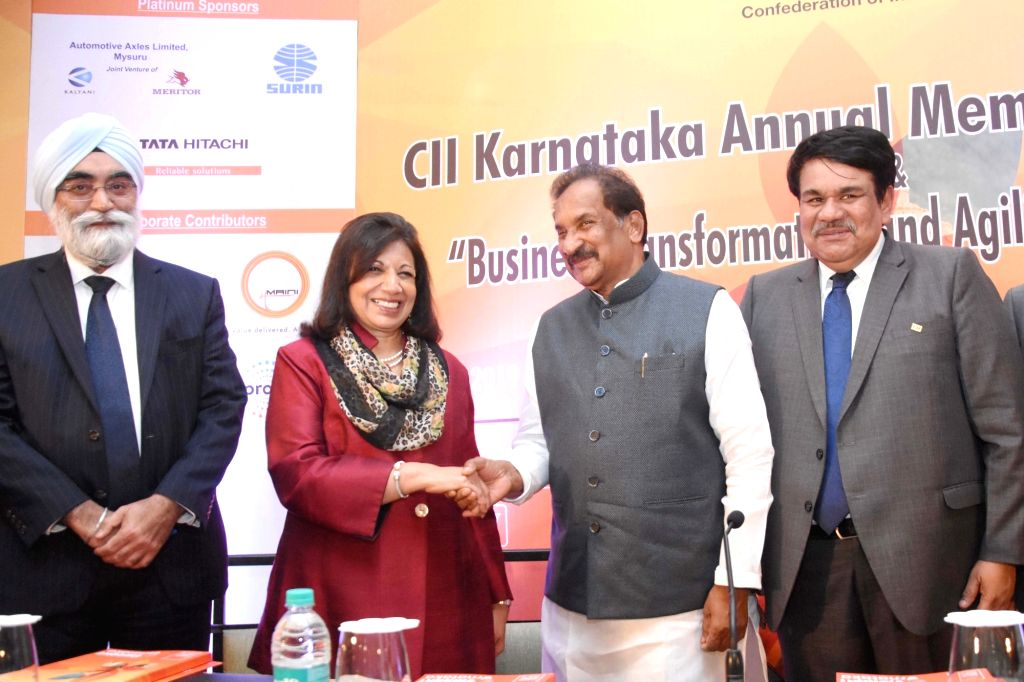 Biocon Ltd Chairperson and Managing Director Kiran Mazumdar-Shaw, Karnataka Large and Medium Scale Industry Minister KJ George, Karnataka CII Chairman N. Muthukumar and EGROW Foundation ... - K