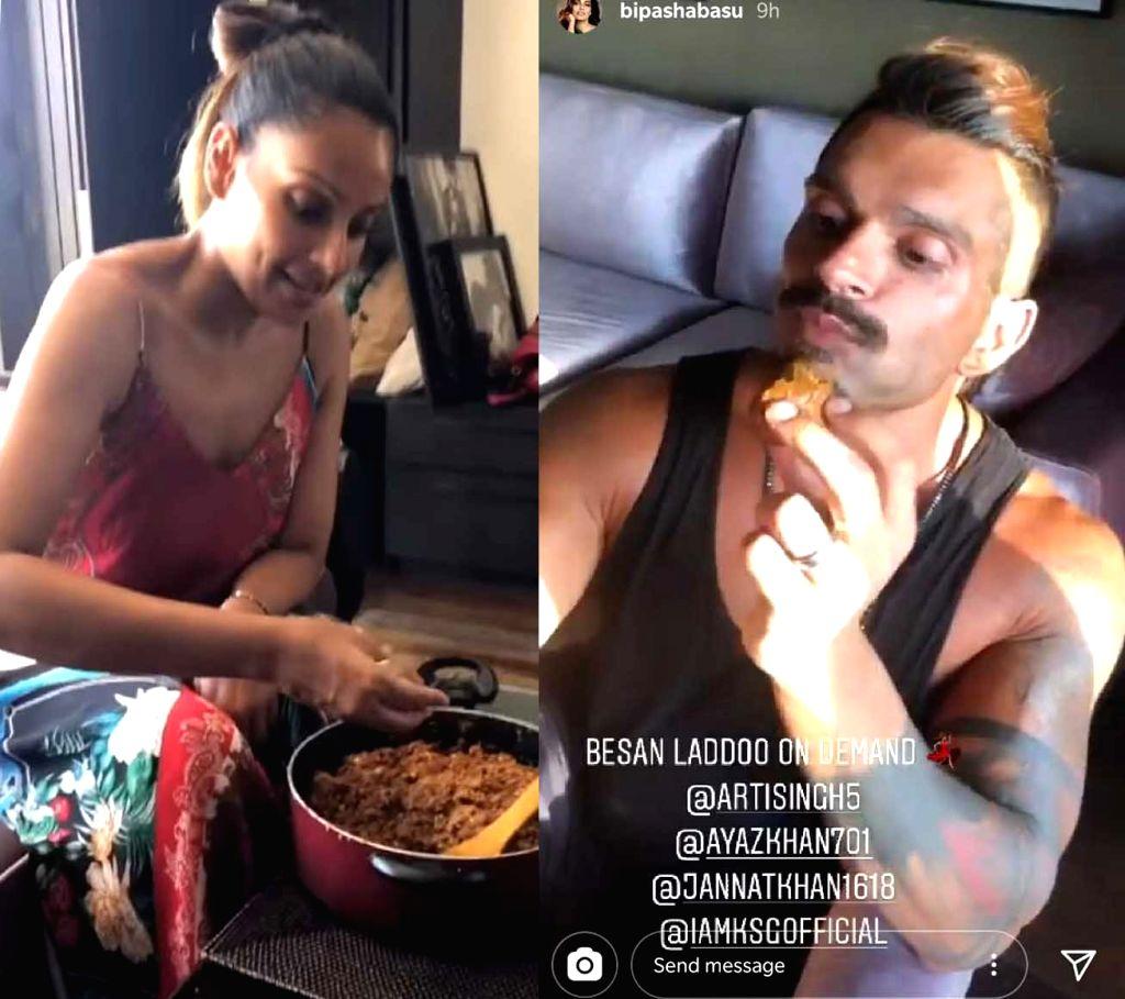 Bipasha makes hubby Karan's fave besan ladoos to mark anniversary.