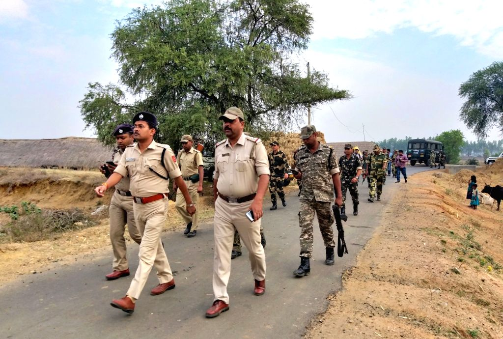 Birbhum (West Bengal): CRPF personnel conduct route march in Mohammad Bazar area of West Bengal's Birbhum district ahead of 2019 Lok Sabha polls; on March 3, 2019.