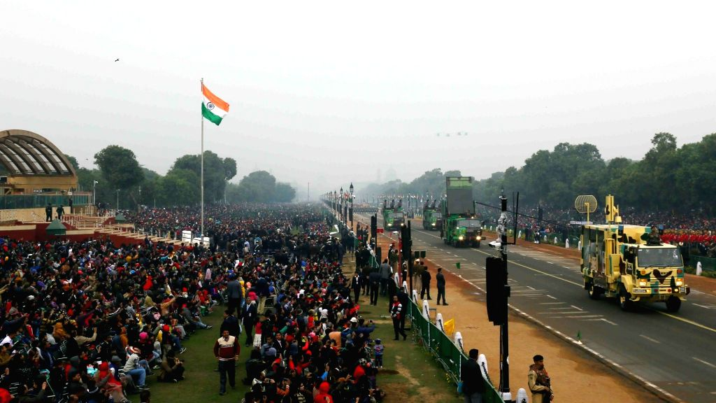 Bird's eye view of march past at Rajpath during the full dress rehearsal for the Republic Day Parade 2018, in New Delhi on Jan 23, 2018.
