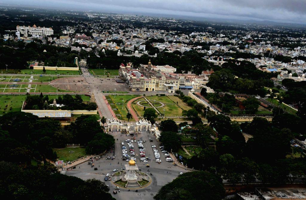 Bird's eye view of Mysuru city on Sept 16, 2017.