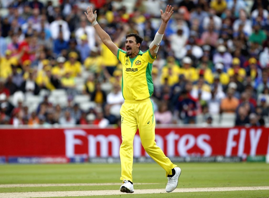 Birmingham: Australia's Mitchell Starc celebrates fall of Johny Bairstow's wicket during the second semi-final match of the 2019 World Cup between England and Australia at the Edgbaston Cricket Stadium in Birmingham, England on July 11, 2019. (Photo: - Surjeet Kumar