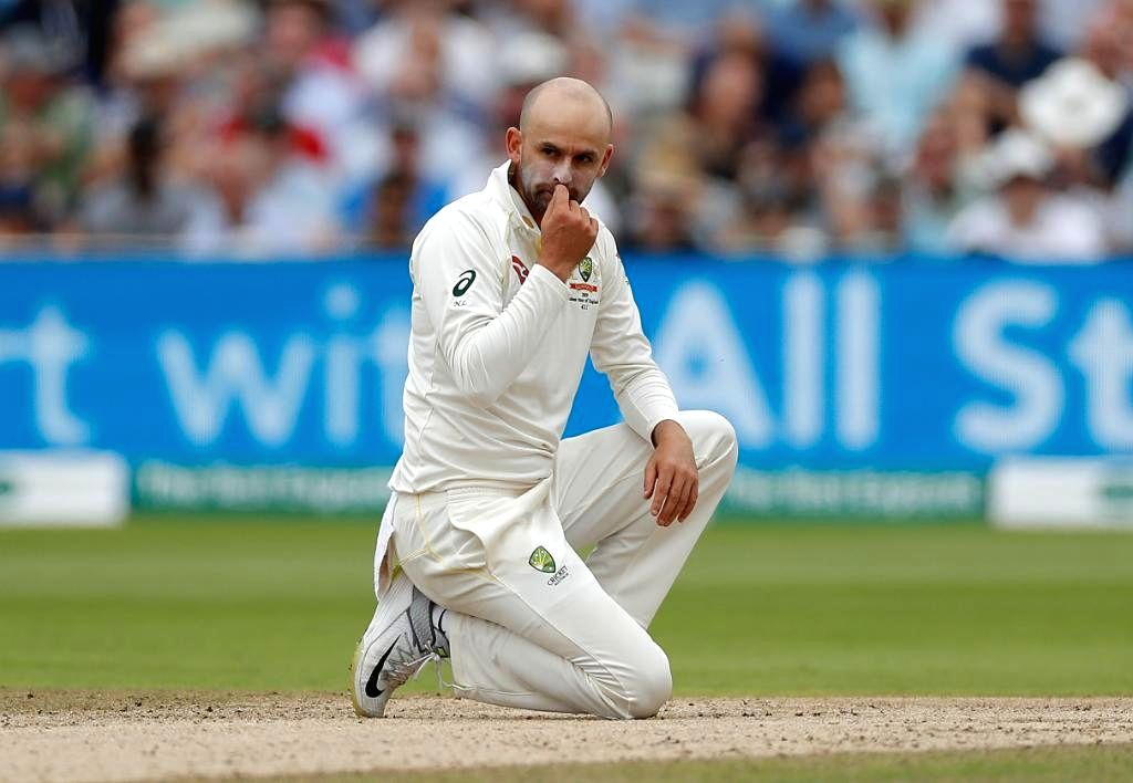 Birmingham: Australia's Nathan Lyon reacts on the second day of the 1st Test of ICC World Test Championship between Australia and England at Edgbaston Stadium in Birmingham, England on Aug 2, 2019. (Photo: Twitter/@ICC)