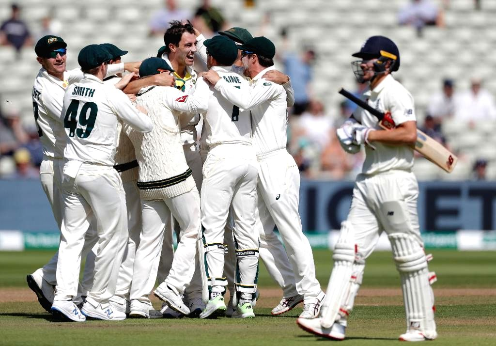 Birmingham: Australia's Pat Cummins celebrates fall of a wicket on Day 5 of the first match of ICC World Test Championship between Australia and England at Edgbaston Stadium in ...