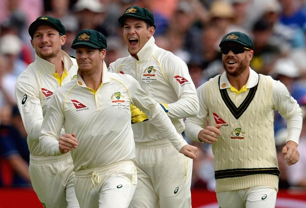 Birmingham: Australian players celebrates fall of a wicket on the second day of the 1st Test of ICC World Test Championship between Australia and England at Edgbaston Stadium in Birmingham, England on Aug 2, 2019. (Photo: Twitter/@ICC)