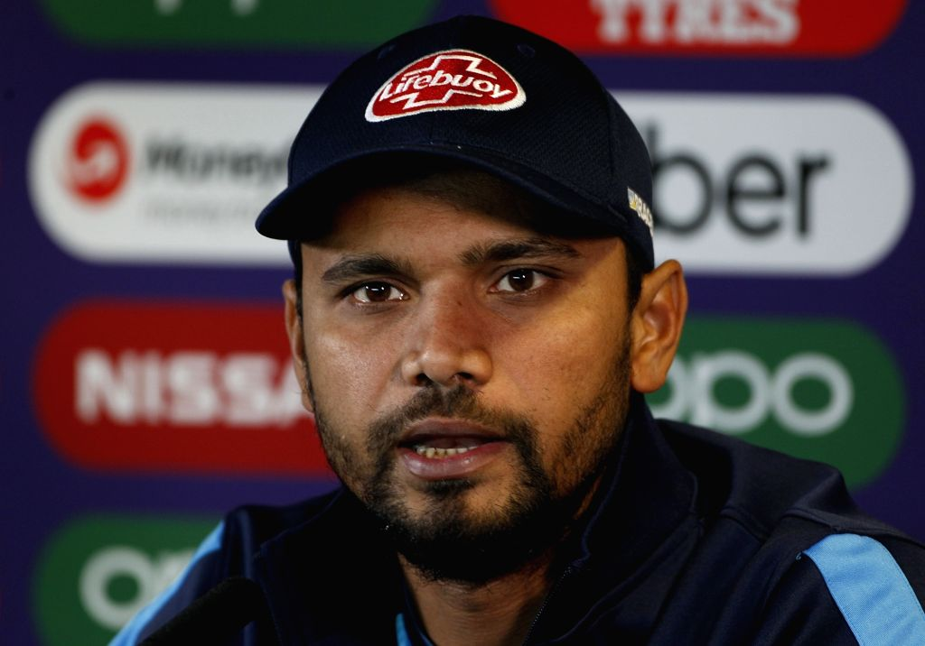 Birmingham: Bangladesh captain Mashrafe Mortaza addresses a press conference ahead of their 2019 World Cup match against India at Edgbaston in Birmingham, England on July 1, 2019. (Photo: Surjeet Yadav/IANS) - Mashrafe Mortaza and Surjeet Yadav